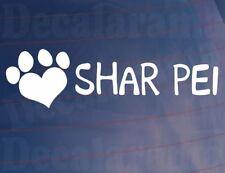 Paw corazón Shar Pei Novedad Coche/Furgoneta/Ventana/Calcomanía ideal para dueños de perros