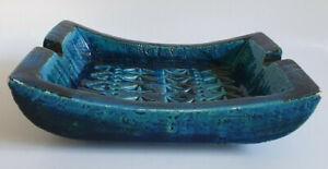 Italian Bitossi Blue Pottery Ashtray