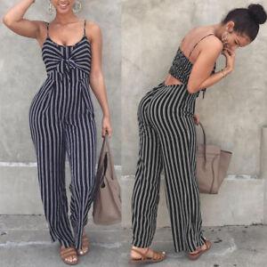 Women Clubwear Playsuit Bodysuit Party Jumpsuit Romper Chiffon Long Trousers DAT