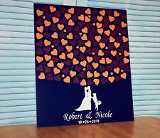 Wedding guest book alternative with personalization. Navy blue wedding guestbook