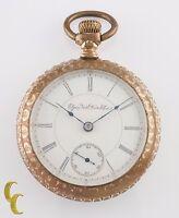 Elgin Grade 145 Gold Filled Open Face Pocket Watch 15 Jewel Size 18s 1898
