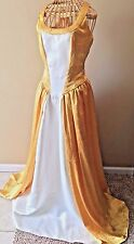 Custom Yellow White Satin Adult Princess Fairytale Gown Basque Costume XL DS2