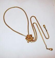 Vtg Forget-me-Not Dog Wood Flower Necklace Lariat Bolo Tie Slide South Western