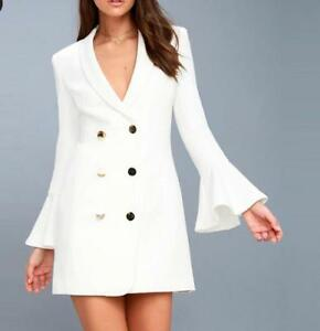 Womens Double Breasted Coats Blazers Flare Bell Formal Coats Business White Slim