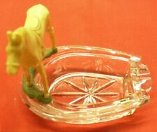 "Vintage Horse Shoe Ashtray-4"" Glass w/Horse Figurine-VG-China"
