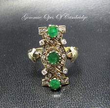 Tests as 12ct Gold Vintage Art Deco Diamond and Emerald Ring Size Y 7g