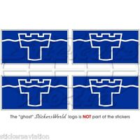 "TYNE & WEAR Flag UK Newcastle Sunderland 50mm (2"") Bumper Stickers, Decals x4"