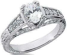 1 ct Oval Diamond Solitaire Wedding Engagement Ring 14K White Gold G SI 1.45 tcw