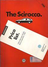 VOLKSWAGEN SCIROCCO  BROCHURE 1986 GT, GTX WITH PRICE LIST     *POST FREE UK