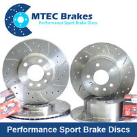 Honda Civic 2.2 CDTi 01/06- Front Rear Drilled Grooved Brake Discs & Mintex Pads