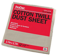 ProDec 12' x 9' Foot Super Twill Dust Sheet Cotton Floor Protection (129SQB)