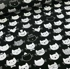 Tissu Tete de Chat Coton 100% Popeline Fond Noir Fabrics Cat Head