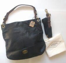 FOSSIL Explorer HOBO Black Leather Crossbody Shoulder Bag Lrg Purse NWT+Dust Bag