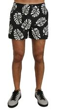 DOLCE & GABBANA Shorts Black White Leaves Print Pajama Sleepwear IT4/S RRP $260
