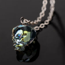 Colorful crystal skull pendant strega witch dark mori necklace gothic jewelry