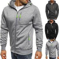 Men Solid Hoodie Zip Hooded Sweatshirt Casual Sport Jacket Coat Winter Outerwear