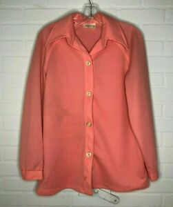 Vintage Sears Women's Top Pink Jacket Blouse 1960s Size 16 Polyester