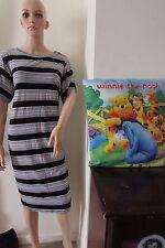 Asos Curve Bodycon Dress Mixed Stripes 24 Black/ White