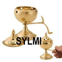 100% Pure Solid BRASS INCENSE BURNER With Handle: STICK/CONE Holder/Ash Catcher
