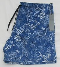 MEN`S MARKS AND SPENCER BLUE & WHITE QUICK DRY FLORAL SWIM SHORTS WAIST XL