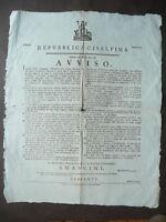 Grida Cisalpina Modena Anno IX Repubblicano Forestieri Sanità 1800 Napoleone