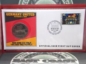 1990 Germany United Official Coin & Stamp First Day Cover   ECC&C, Inc.