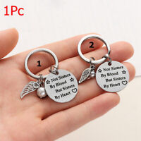 Steel Not Sisters by Blood Bag Pendant Letter Keyring Pearl Wing Key Chain