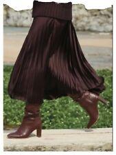 Stunning BNWT Emma Willis Plum Satin Pleat Skirt Size 14 Rrp £46