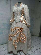 Victorian bustle Lace peach Couture 1880s rep Dress sz 12