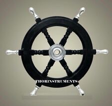 """Nautical Collectible Boat Ship Wheel Wooden Steering Home Decor 24"""""""