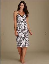 Black Mix M s Printed Satin Chemise Nightdress Nightie Uk8 7ea1561a6