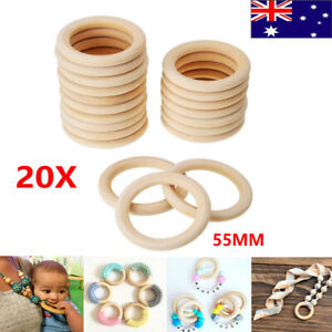 20X Wood Rings Round 55mm Unfinished Wooden Rings DIY Teething Ring Baby Gifts