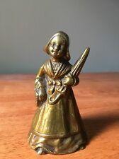 Vintage Heavy Brass Bell Dutch Girl Women Maid Lady Umbrella Basket