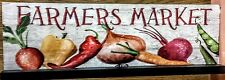 """NWT Farmers Market Sign for Table Features Colorful Veggies,16"""" W x 5.25""""T"""