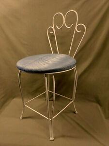 3344M Vtg Vanty Chair Stool w/Back White Scrolled Metal w/MINT AQUA Seat PRETTY!
