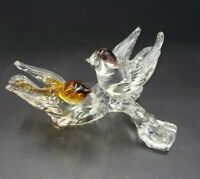 """Vintage Murano Italian Art Glass Sculpture Signed Two Birds on Branch 3.75 x 7"""""""