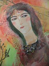Cuban Cuba Artist Charo Hand SIGNED Painting HOT GIRL SQUIREL NATURAL PINK 17 F