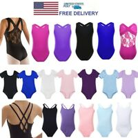 Girls Cross Strap/Lace Back Ballet Dance Leotard Gymnastics Camisole Dancewear
