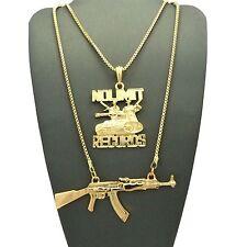 Hip Hop Micro No Limit Records & Gun Pendant W/ Box Chain 2 Necklace Set Gn037G