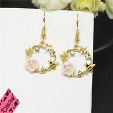 Hot Betsey Johnson Color Enamel Cute Flower Bee Crystal Women Stand Earrings