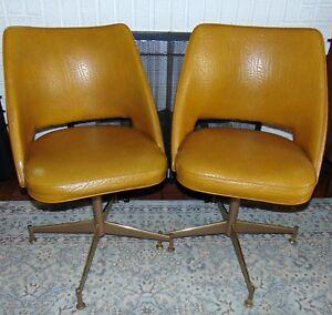 2 x Two 1960's Mid Century Modern BRODY Vinyl Swivel Chairs Atomic Mustard