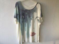 Friendtex Shirt Gr. 4XL beige blau Print Viskose Elasthan KA NEU Damen