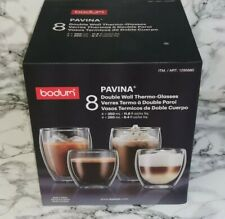 NEW Bodum Pavina Double Wall Thermo Glasses Set of 8 (4 x 350ml and 4 x 250ml