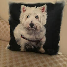 White Westie Cushion Cover 18 x 18 Linen Novelty West Highland Terrier Gift Retr