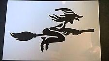 Halloween Strega Scopa 7x 4.5 Stencil Card Making Scrapbooking AEROGRAFO PITTURA