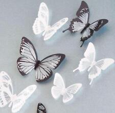 18pcs Fai-Da-Te 3D Nero & Bianco Farfalla Adesivo da Parete PVC Arredo Casa L36
