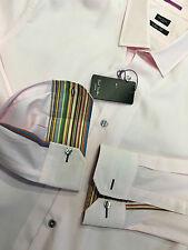"Paul Smith Shirt 17"" Eu 43 MULTISTRIPE INNER CUFFS ""LONDON"" SLIM FIT SHIRT PINK"