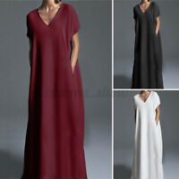 Women Short Sleeve V Neck Casual Long Maxi Dress Plain Loose Evening Party Dress