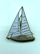 VINTAGE Unknwon Sailboat - Enamel - Ontario Lapel Pin - Nautical
