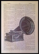 Vintage Gramophone Print Antique Dictionary Page Wall Art Picture Retro Music